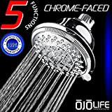 Shower Perfection Super Luxury Hotel & Spa Quality 5 Setting Variable Spray Oversize HandsFree Wall Mount Shower Head by OjoLife Innovations - Chrome Finish - Self Cleaning Nozzles - Easy to Install