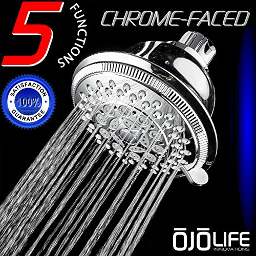 Chrome Self Cleaning Range - Shower Perfection Super Luxury Hotel & Spa Quality 5 Setting Variable Spray Oversize HandsFree Wall Mount Shower Head by OjoLife Innovations - Chrome Finish - Self Cleaning Nozzles - Easy to Install