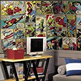 RoomMates JL1398M Marvel Comic Panel X-Large Chair Rail Prepasted Mural, Ultra-strippable, 6' x 10.5'