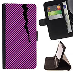 Momo Phone Case / Flip Funda de Cuero Case Cover - Líneas Patrón Negro Rosa Púrpura - LG G3