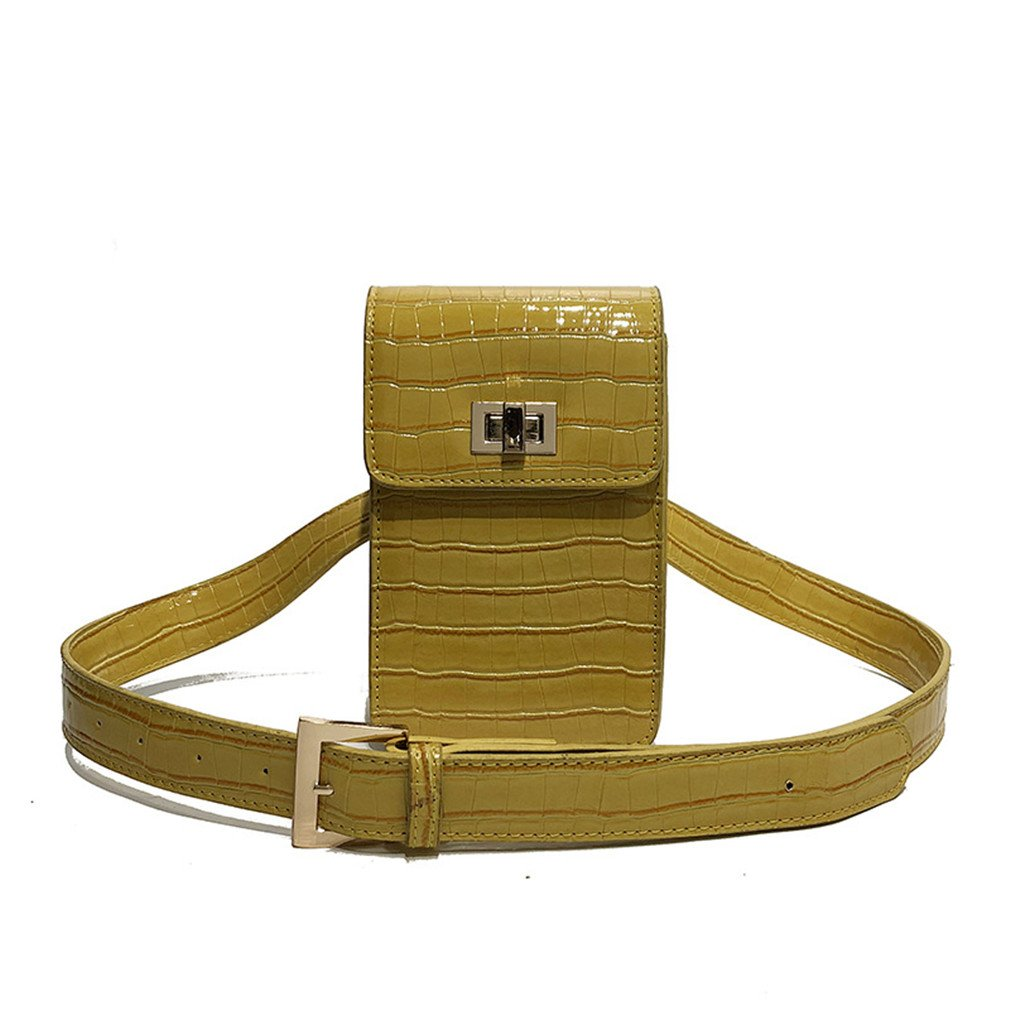 XUEERBAO Vintage PU Leather Waist Bag Travel Belt Wallets Casual Shoulder Bag Yellow