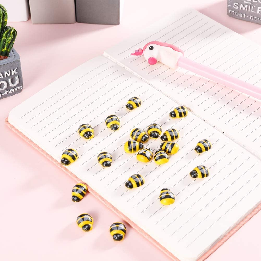 Decoration Provone 200pcs Tiny Wooden Bee Self-Adhesive Mini Bee Wood Stickers Bee For Embellishment Card Making Red And Yellow