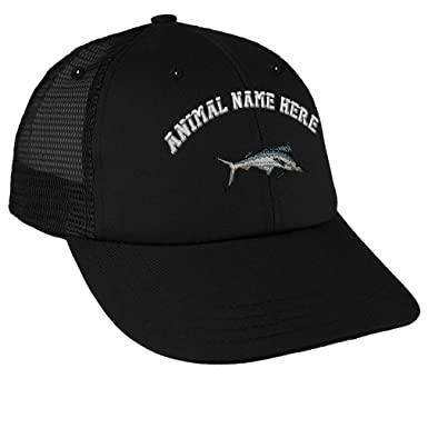 be6f43ba Snapback Baseball Cap White Marlin Embroidery Animal Name Cotton Mesh Hat  Snaps - Black, Design