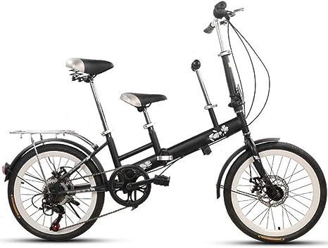 Axdwfd Infantiles Bicicletas 20 Pulgadas de Bicicleta, la Madre y el niño en tándem Plegables cambiando el Freno de Disco Valla cinturón de Seguridad Doble Madre Recoger niño Bicicleta: Amazon.es: Deportes y