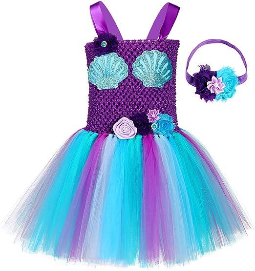 Disfraz de Sirena para niñas con tutú y Forro de algodón y Diadema ...