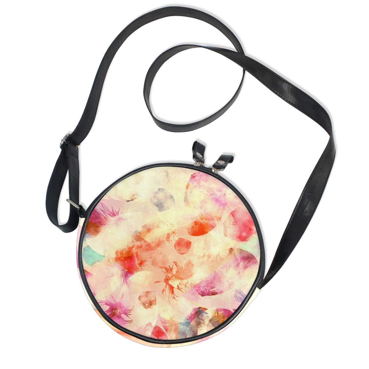 Feathers And Gems Small Round Canvas Crossbody Messenger Bags for Women