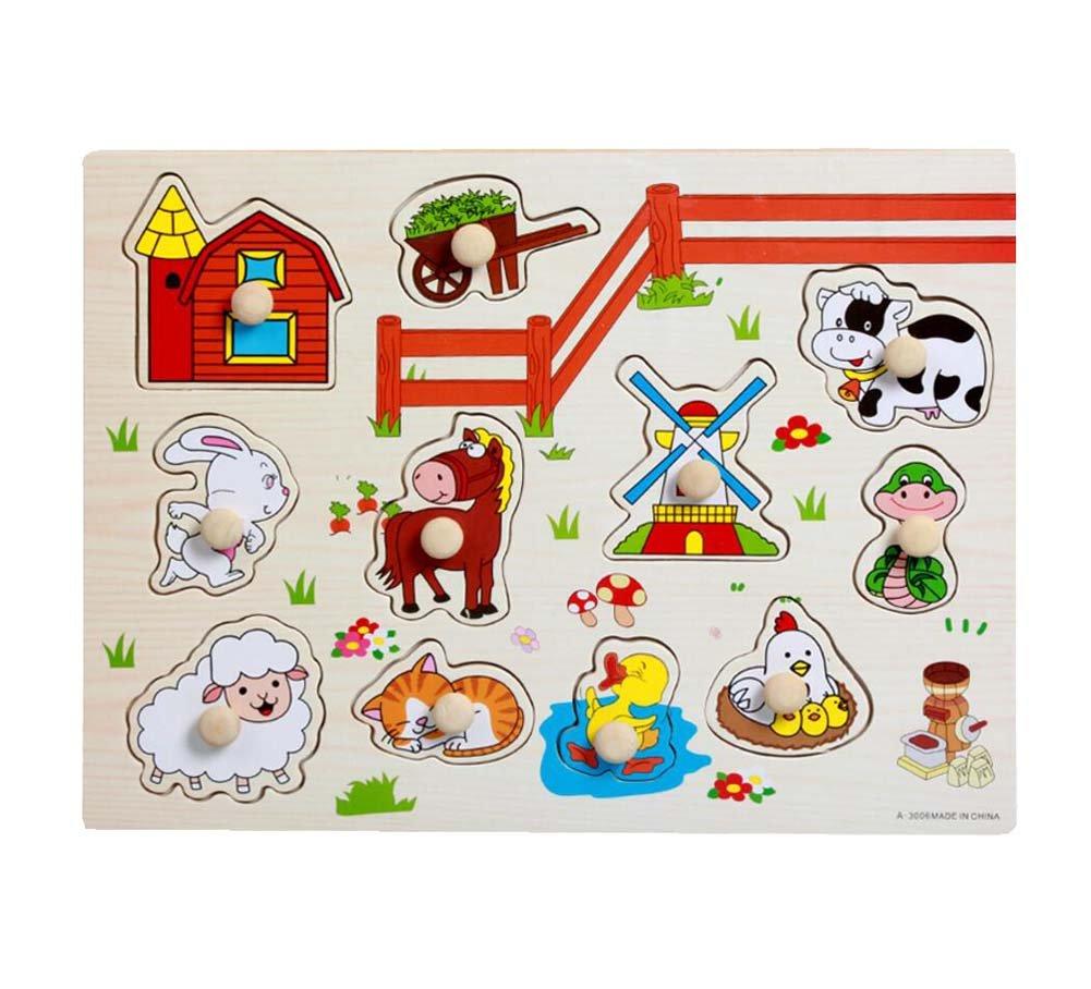 Rompecabezas educativos de madera para rompecabezas de juguete para bebés y niños, animales de granja Black Temptation