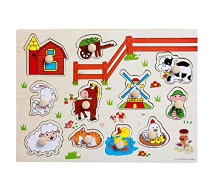 Educational Wood Jigsaw Puzzles for Babies and Kids Toy Puzzles, Farm Animals