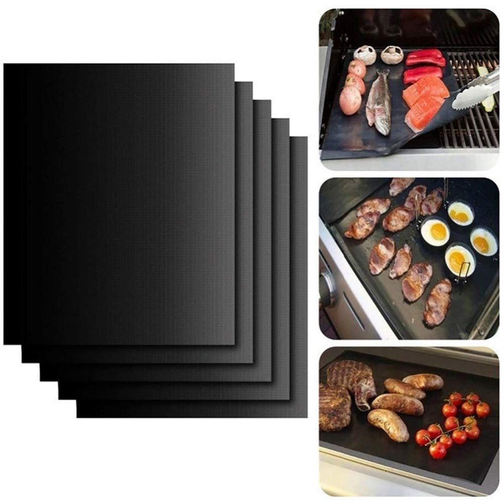 YIHGJJYP 5pcs Reusable Non-Stick BBQ Grill Mat Pad Baking Sheet Meshes Portable Outdoor Picnic Cooking Barbecue Mat Tool Sets