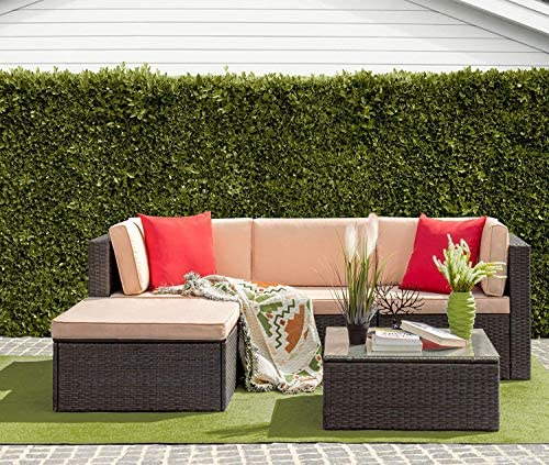 Furniwell 5 Pieces Outdoor Sectional Furniture Set Patio Wicker Rattan Sofa Set Backyard Couch Conversation Sets