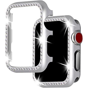For Apple Watch Case 42mm, Falandi Apple Watch Face Case with Bling Crystal Diamonds Plate iWatch Case cover Protective Frame for Apple Watch Series 3/2/1 ...