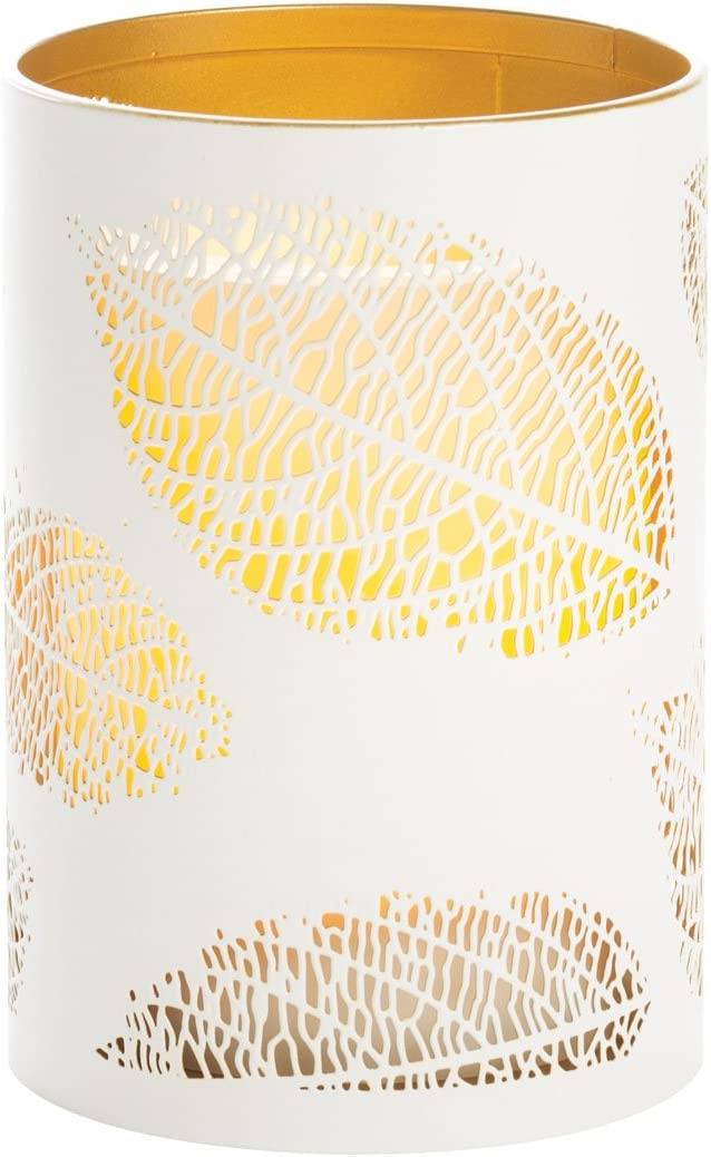 Sterno Home CAT12451WH Laser Etched Leaf Design Metal Luminary, 3.5 5-Inch, White Gold