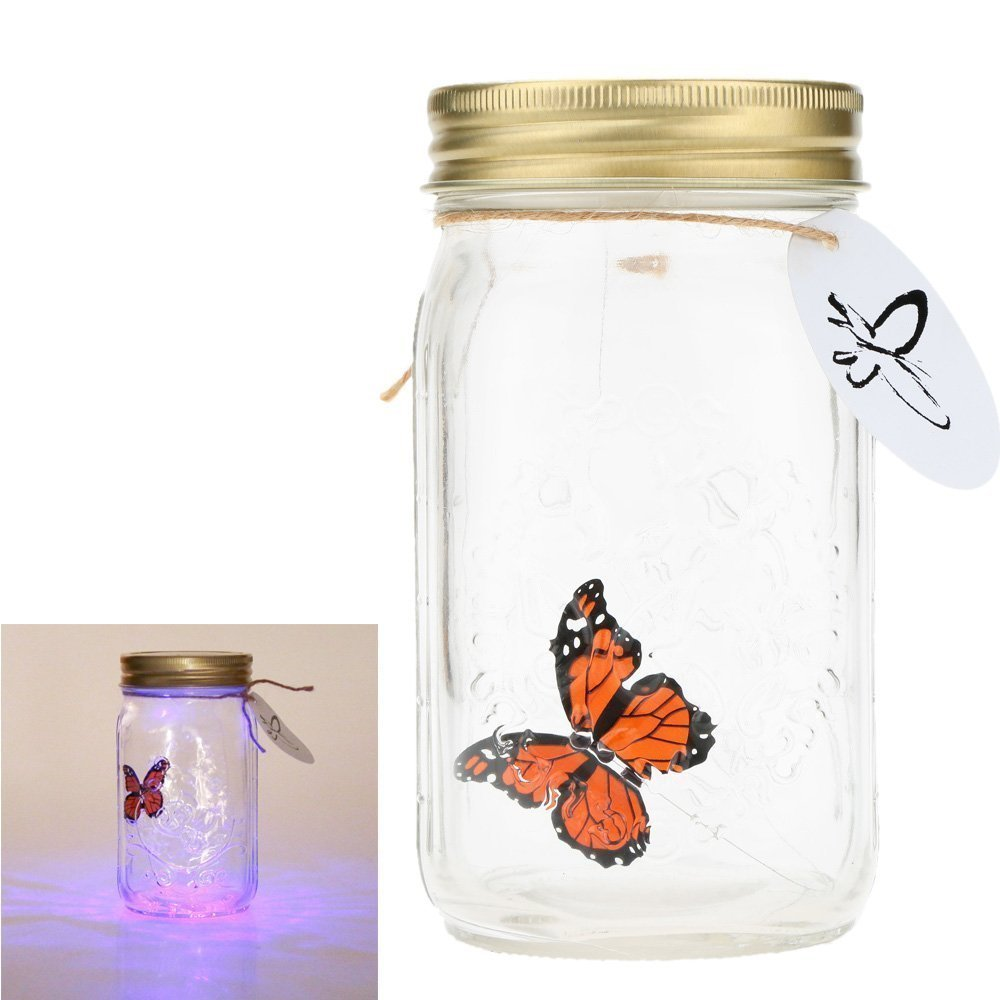 Herebuy8 Romantic Butterfly Collection- Animated Butterfly in a Jar with LED Lamp (Orange)