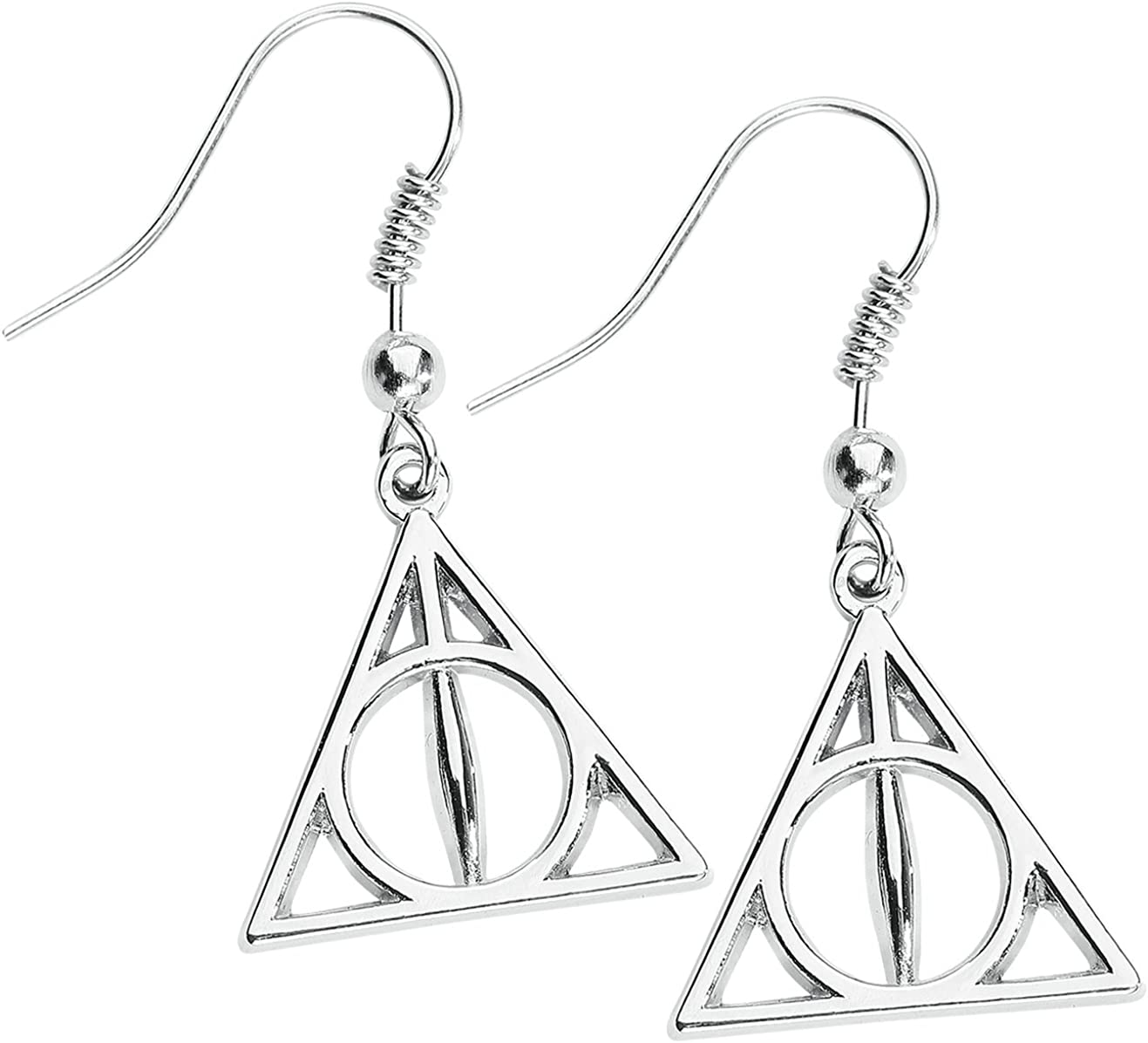 Harry Potter Inspired Sliver Tone Deathly Hollows Ear Rings