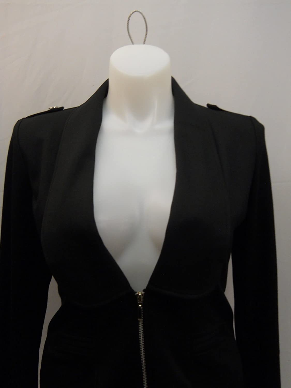 ABS Essential Women Jacket Solid Black Long Sleeve Size M Collar Neck Zip Closure