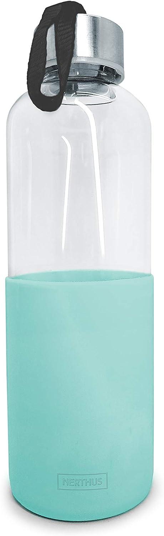NERTHUS FIH 402 Botella de cristal 600ml, Antideslizante Silicona, color turquesa 0.6 litros, Vidrio