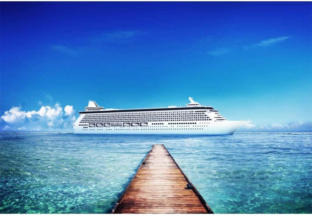 Vinyl 10x8ft Cruise Ship Blue Sea Ocean Backdrop Yacht Tropical Beach Summer Holiday Photography Backgrouds Hawaiian Maldives Coastal Vacation Children Adult Photo Portraits