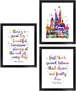 Dignovel Studios Unframed (Set of 3) 8X10 There is a Great Big Beautiful Tomorrow Inspirational Quotes Watercolor Art Print Set Girl Room Decor dnc24