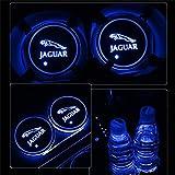 YenCar 車用 LED ドリンクホルダー レインボーコースター 車載 ロゴ ディスプレイライト LEDカーカップホルダー マットパッド (ジャガー Jaguar)