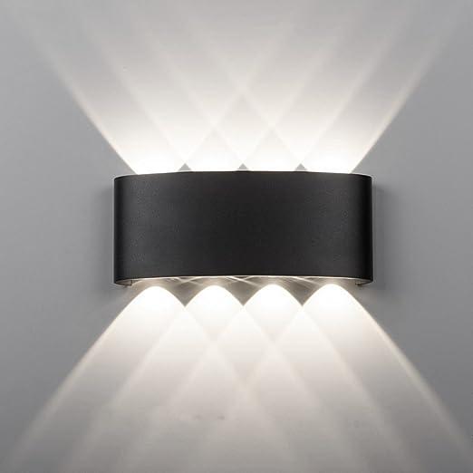 Maxmer Apliques de Pared 8W Luz Exterior IP65 Impermeable para Iluminación del Porche, Patio, Jardín Viene con Led Granos, Blanco Frío: Amazon.es: Iluminación