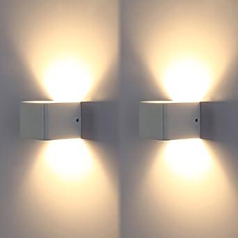 Topmo 2er Pack 7W LED Wandleuchten Weiß Wandlampen Hochwertige Aluminum  Flurlampe Up Und Down Design 3000K