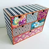 Decoupage wooden big desk commode, desk organiser, chest of drawers, stationary box, decorated box, wooden gift, storage commode