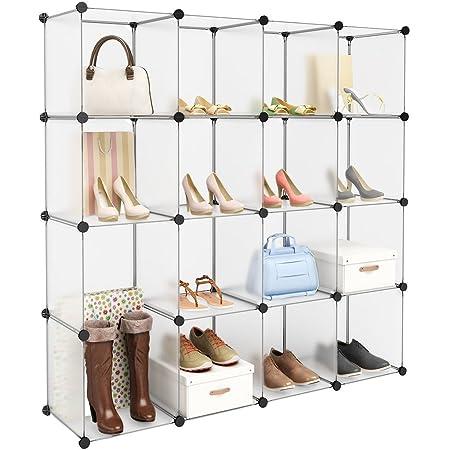 Langria Armario Modular Estantería Por Módulos Armario De Almacenaje Para Ropa Zapatos Juguetes Y Libros Color Blanco 15 Cubos Sin Puertas