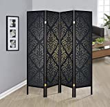 Coaster Home Furnishings 4-Panel Folding Floor Screen Black Damask Review
