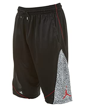 ffd27c930a6 Jordan Mens Fly Elephant Basketball Shorts Black/White/Gym Red 589346-010 (