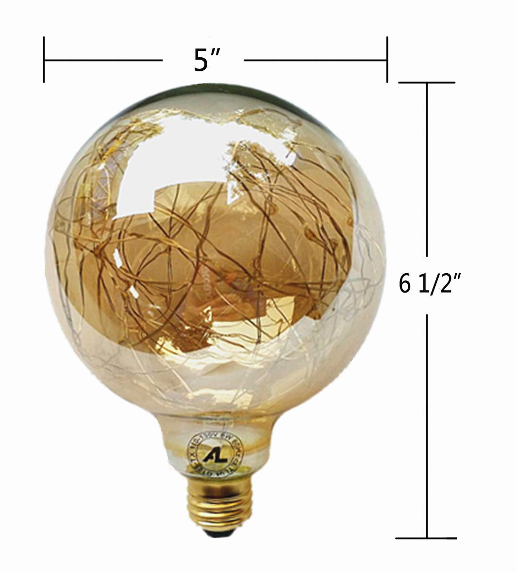 LED Globe Fairy Light Bulb Lighting, Warm Yellow Dimmable 120V/6W Gold Glass E26 Standard Edison Lamp Starry Decorative 3000K Energy-Saving Lights for Home, Bar, Yard