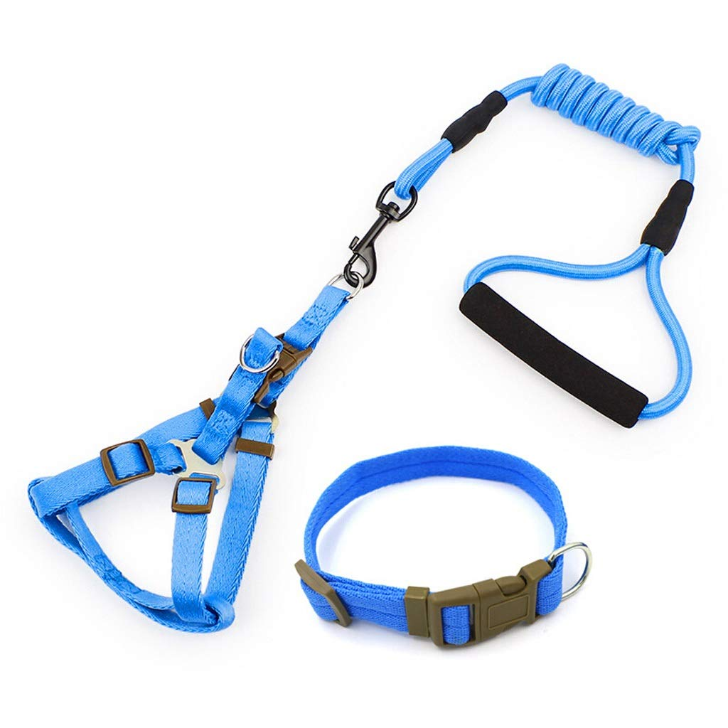L JIANXIN Dog Leash, Dog Chest Strap, Three-Piece Suit, Suitable for Dogs, bluee, 4 Sizes (Size   L)