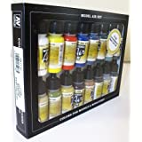 Basic Colors: Acrylic 16 Airbrush Paint Set for Model & Hobby (Vallejo 71178)