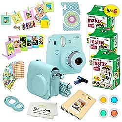 Fujifilm Instax Mini 9 Instant Camera Ice Blue W Fujifilm Instax Mini 9 Instant Films (60 Pack) + A14 Pc Deluxe Bundle For Fujifilm Instax Mini 9 Camera