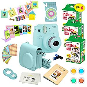 Fujifilm Instax Mini 9 Instant Camera ICE BLUE + Fuji INSTAX Instant Film (60 SHEETS) + Accessories kit Bundle; Custom Matching Case w/ Strap + 4 Color Filters + Photo Album + Assorted Frames + MORE