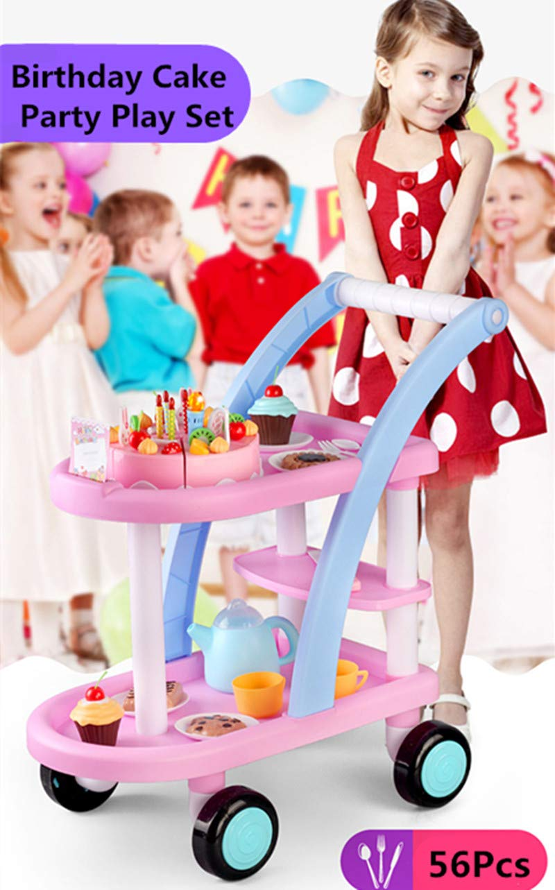 KKING Birthday Party Cake Play Cart Set -Birthday Gift Children's Day Gift Play Food Cake Toy Set DIY Pretend Cutting Cake Toys 56 Pieces for 3+ Kids (Flashing Candle Included) by KKING (Image #2)