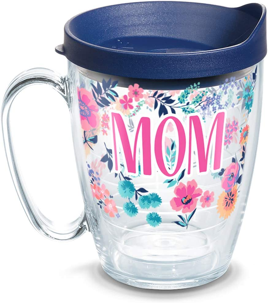 Tervis Mom Dainty Floral Insulated Tumbler with Wrap and Lid, 16 oz Mug - Tritan, Clear