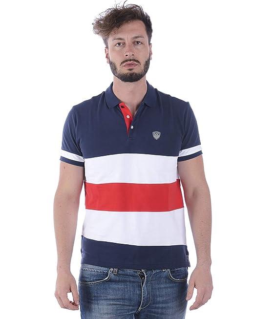 EA Polo EA7 Emporio Armani 7 3ZPF57 Uomo Logo T-Shirt Righe Blu Manica Corta 6bf9ee78ea3