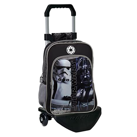 Star Wars 42323M1 Mochila Escolar con Carro, Color Negro