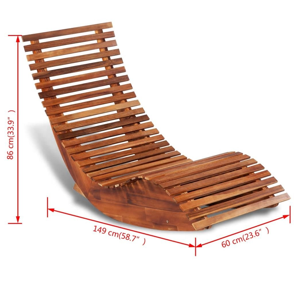 Rocking Chair Made of Acacia Wood Sun Lounger for Both Indoor and Outdoor Use Chair Dimensions 58.7'' x 23.6'' x 33.9'' (L x W x H) by Chloe Rossetti (Image #2)