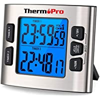 ThermoPro TM02 Digital Kitchen Timer with Dual Countdown Stop Watches Timer/Magnetic Timer Clock with Adjustable Loud…