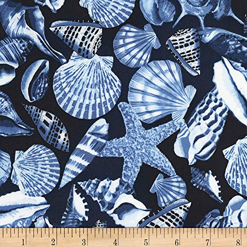Timeless Treasures Nautical Mile Allover Seashells Navy Fabric Fabric by the Yard