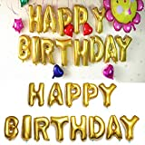"""LING'S SHOP 16'' """"HAPPY BIRTHDAY"""" Letters Foil Alphabet Balloon Party Decoration (Gold)"""