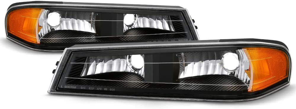 Driver /& Passenger Side For 2004-2012 Chevy Colorado /& GMC Canyon Pickup Truck Models OE-Style Chrome Bezel Parking /& Turn Signal Front Bumper Light Lamp Housing Assembly Replacement