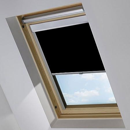 MCTECH Dachfenster rollo Sonnenschutz Verdunkelung Thermorollo Jalousien Rollos (S08/608, schwarz)