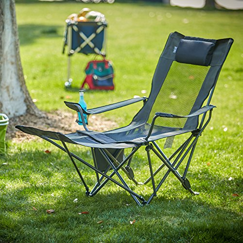 OUTDOOR LIVING SUNTIME Folding Camping Chair with Detachable Footrest, Mesh Lounge Reclining with Comfotable Adjustable Back