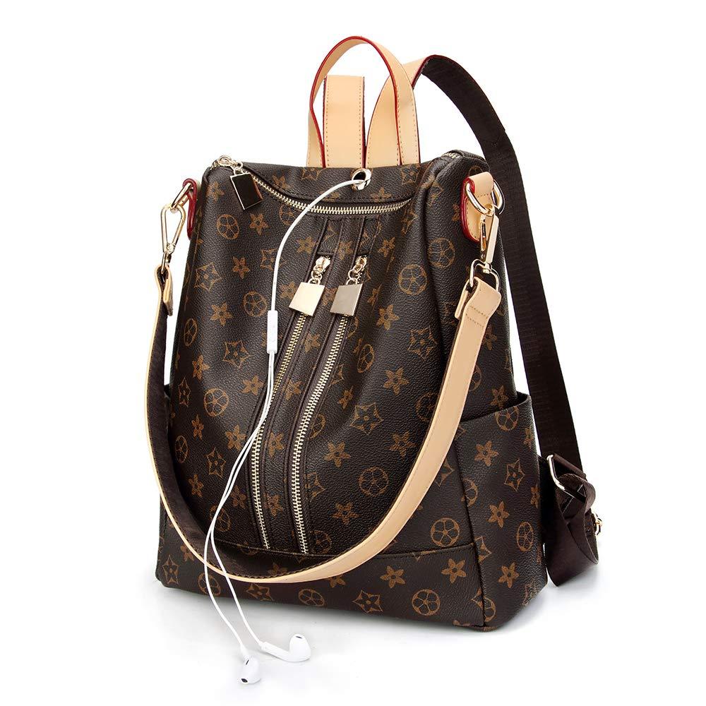 Designer Handbags For Women, Auner Fashion Backpack Leather Zipper Shoulder Bag Handbags Travel Hiking Burglar Bag