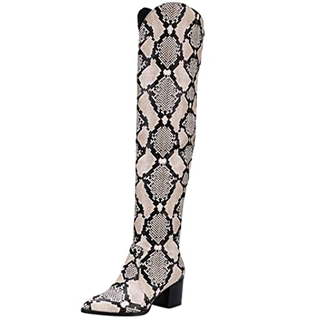 LILICAT❋ Moda Botas con Estampado de Serpientes Botas de Gamuza para Mujer, Zapatos de