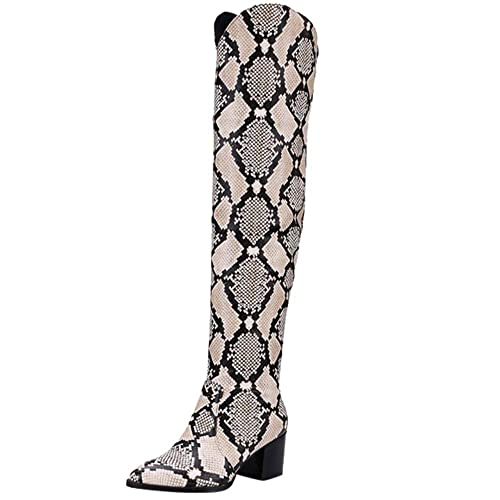 534a19106a1c2 Limsea Women Long Boots Fashion Snakeskin Print Fine Heel Round-Toe  Platform Patent Leather