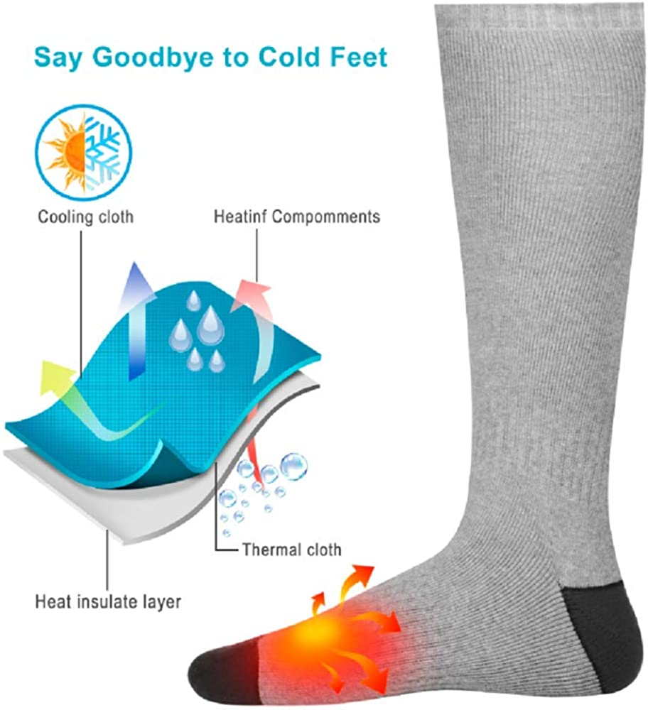 Winter Electric Socks for Men Women Thermal Battery Socks for Camping and Skiing and More ANGUO Heated Socks Rechargeable Black//M