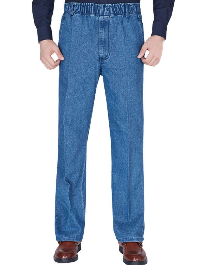 Soojun Mens Seniors Casual Loose Fit Elastic Waist Denim Pants, Denim Blue, Large